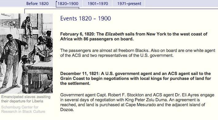 Liberia Timeline: 1820 - 1900