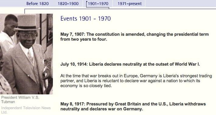 Liberia Timeline: 1901 - 1970