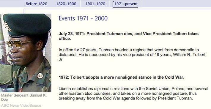 Liberia Timeline: 1971 - present