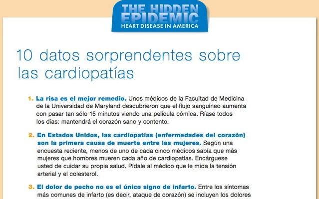 The Hidden Epidemic: Heart Disease in America, All Handouts Spanish