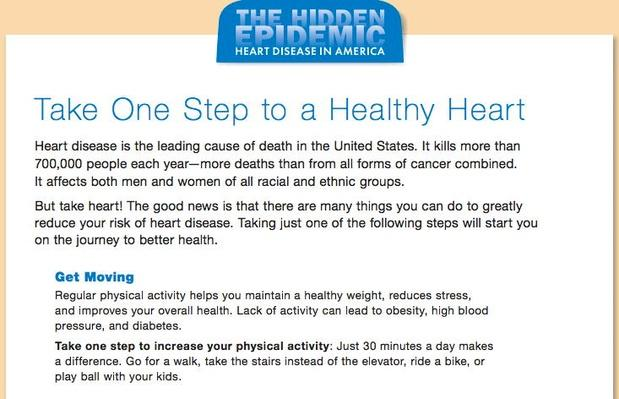 The Hidden Epidemic: Heart Disease in America, Take One Step to a Healthy Heart