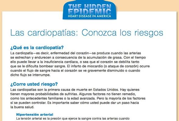 The Hidden Epidemic: Heart Disease in America, Las cardiopatias: Conozca los riesgos