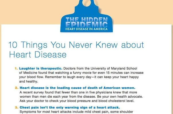 The Hidden Epidemic: Heart Disease in America, 10 Things You Never Knew about Heart Disease