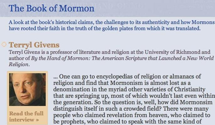 The Mormon Faith: The Book of Mormon