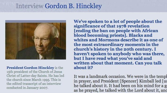 Interview: Gordon B. Hinckley