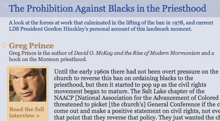 The Prohibition Against Blacks in the Priesthood