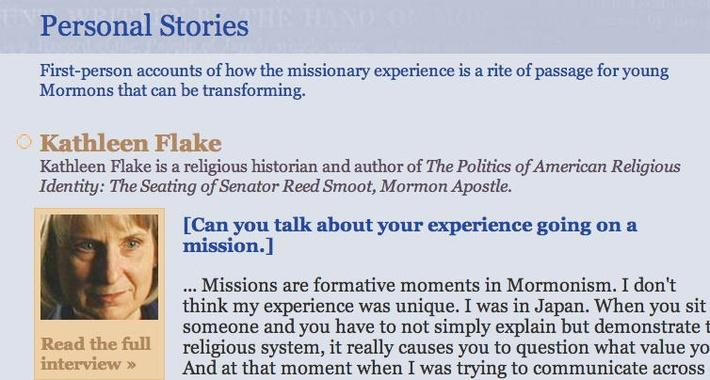 The Mormon Missionaries: Personal Stories