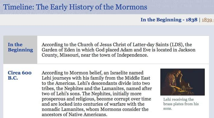 Timeline: The Early History of the Mormons, 600 BC - 1838 AD