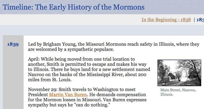 Timeline: The Early History of the Mormons, 1839 - 2007