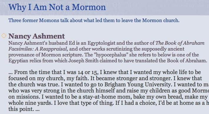 The Mormon Faith: Why I am not a Mormon