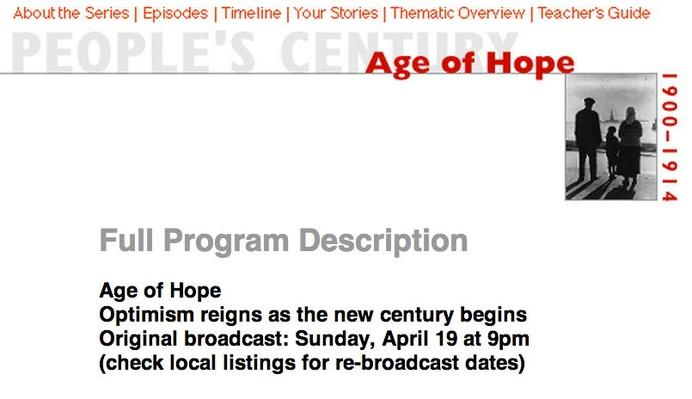 Age of Hope, Full Program Description