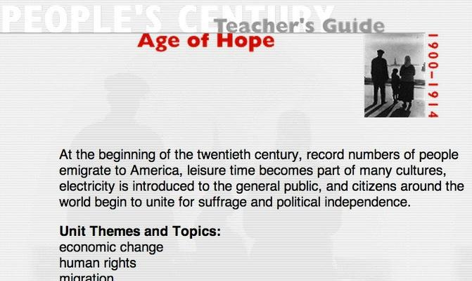 Age of Hope, Teacher's Guide