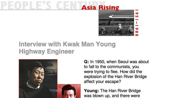 Asia Rising, Eyewitness Interview: Kwak Man Young