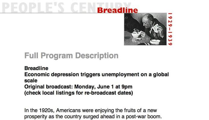 Breadline, Full Program Description