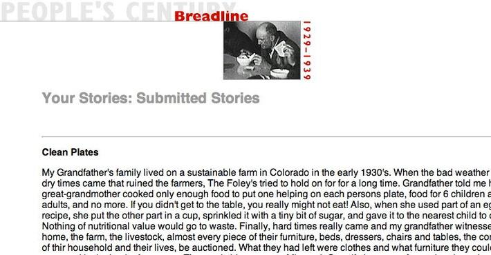 Breadline, Selected Submissions