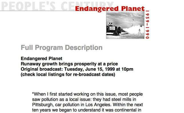 Endangered Planet, Full Program Description