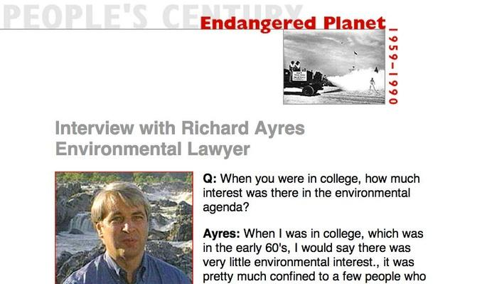 Endangered Planet, Eyewitness Interview: Richard Ayres