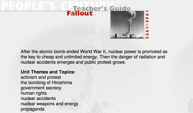 Fallout, Teacher's Guide
