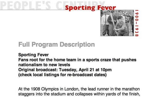 Sporting Fever, Full Program Description