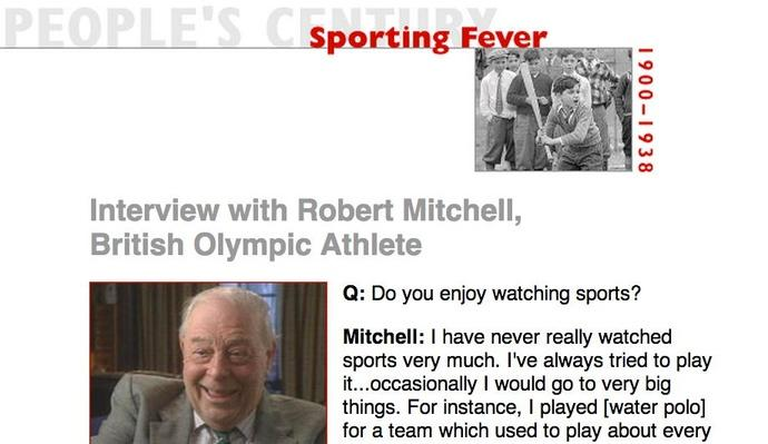 Sporting Fever, Eyewitness Interview: Robert Mitchell