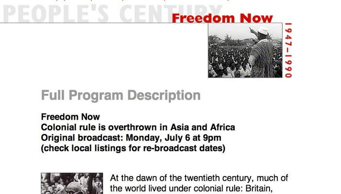 Freedom Now, Full Program Description