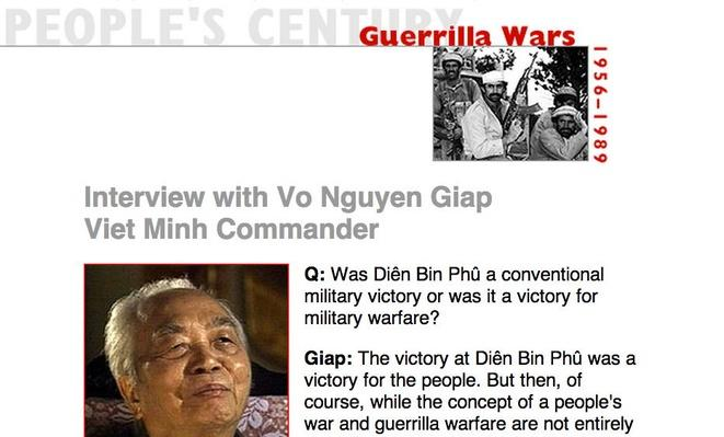 Guerrilla Wars, Eyewitness Interview: Vo Nguyen Giap