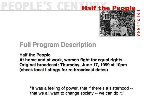 Half the People, Full Program Description