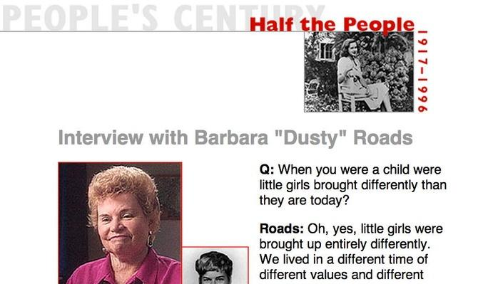 "Half the People, Eyewitness Interview: Barbara ""Dusty"" Roads"
