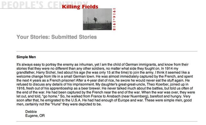 Killing Fields, Selected Submissions