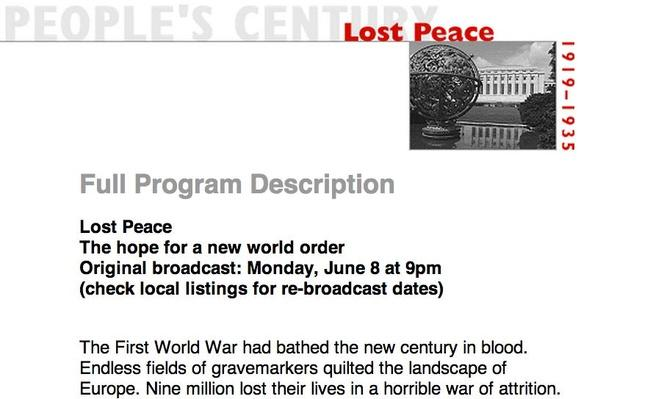 Lost Peace, Full Program Description