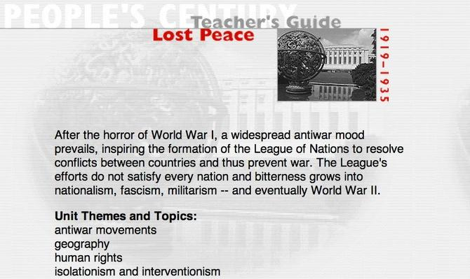Lost Peace, Teacher's Guide