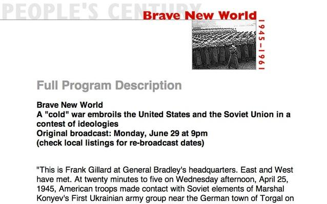Brave New World, Full Program Description