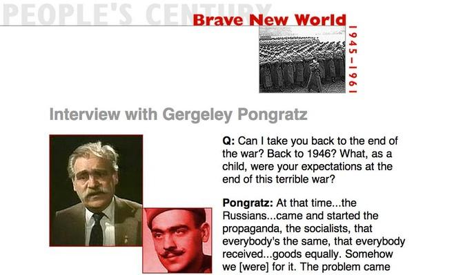 Brave New World, Eyewitness Interview: Gergeley Pongratz
