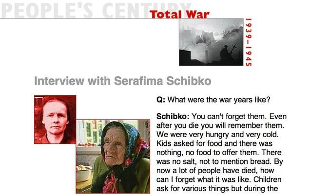 Total War, Eyewitness Interview: Serafima Schibko