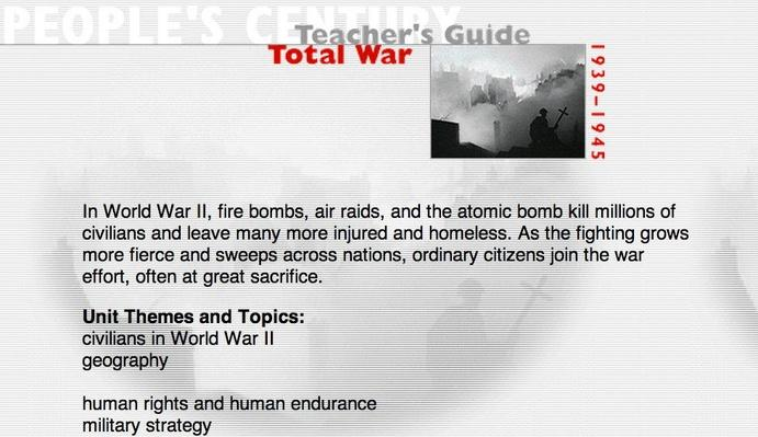 Total War, Teacher's Guide