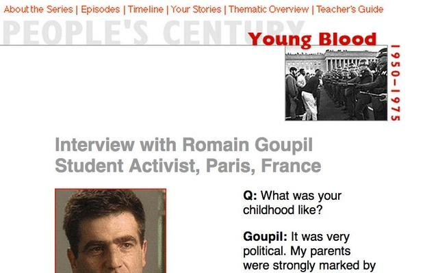 Young Blood, Eyewitness Interview: Romain Goupil