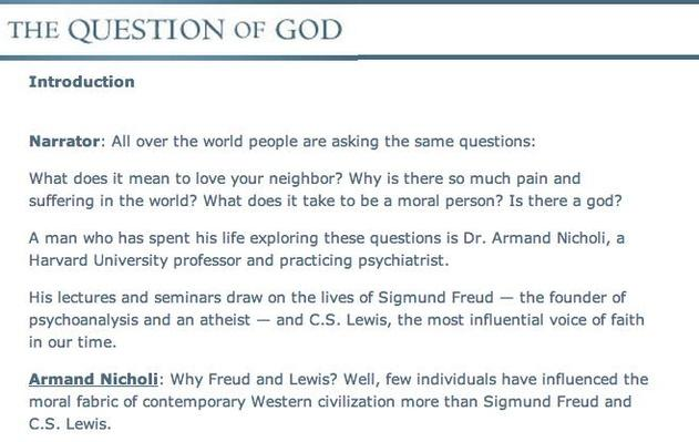The Question of God Introduction Transcipt