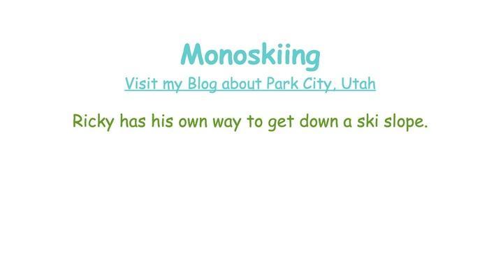 Monoskiing