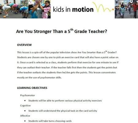Are You Stronger Than a 5th Grade Teacher Lesson Plan?