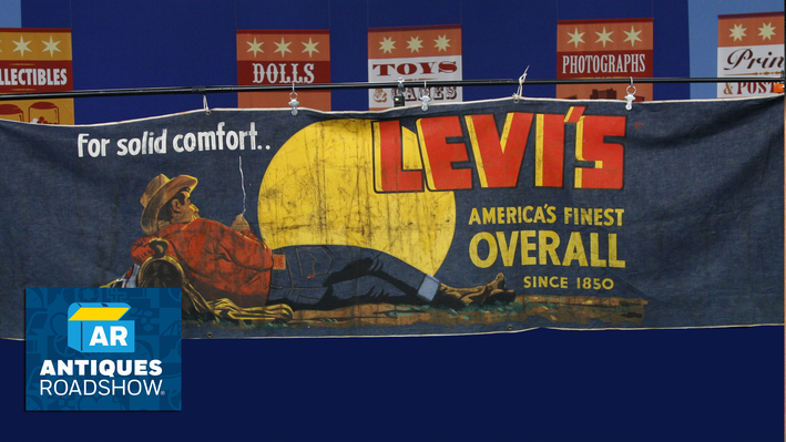 Mid-20th-Century Denim Levi's Advertising Banner | ANTIQUES ROADSHOW