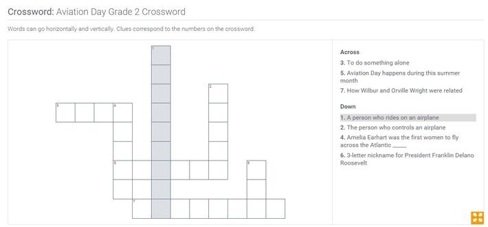 Aviation Day | Grade 2 Crossword