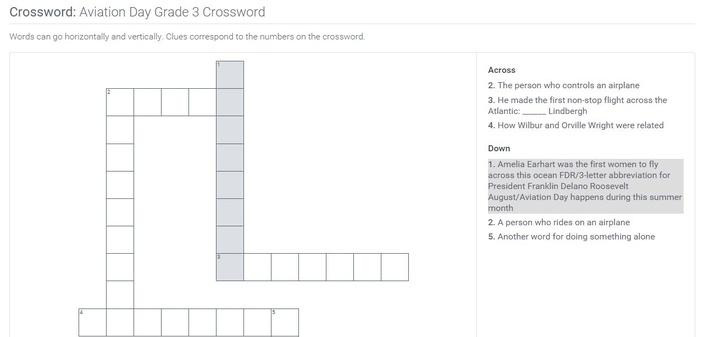 Aviation Day | Grade 3 Crossword