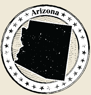 Arizona Grunge Map Black & White Stamp Collection | Clipart