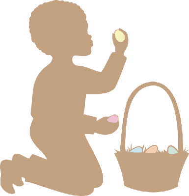Easter Silhouette: African American Boy | Clipart