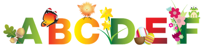 Spring, Summer, Nature, and Easter Alphabet - A-F | Clipart