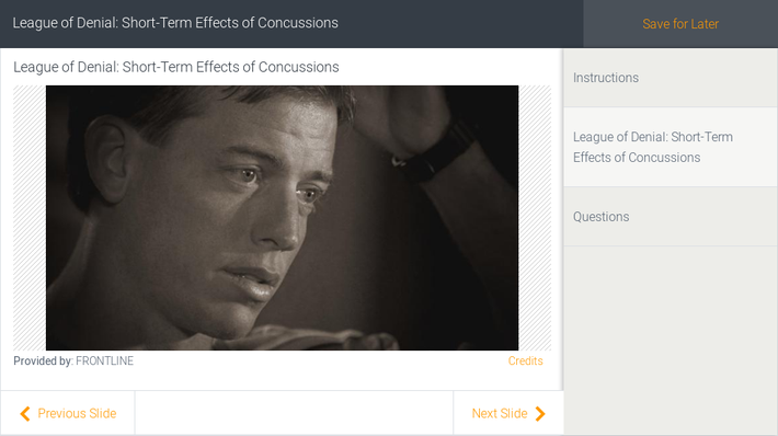League of Denial: Short-Term Effects of Concussions
