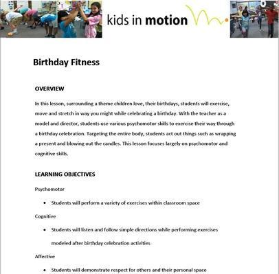 Birthday Fitness Lesson Plan
