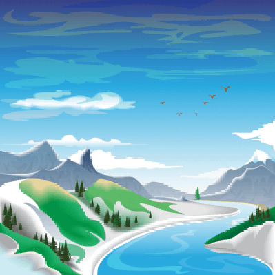 Four Seasons Scenery - Spring in the Mountains | Clipart