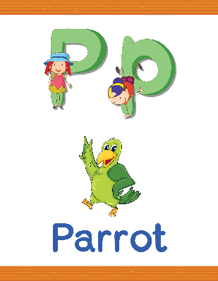 Alphabet Worksheets - P for Parrot | Clipart