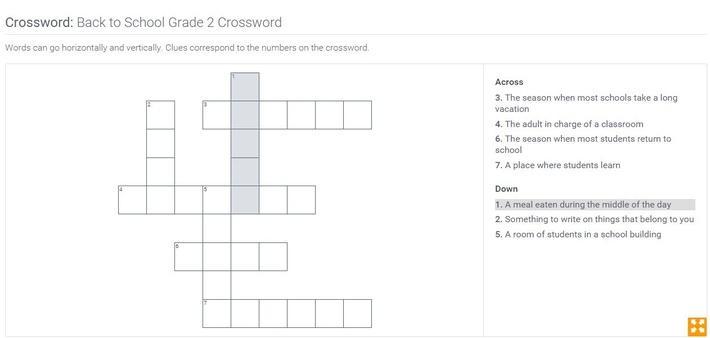Back to School | Grade 2 Crossword